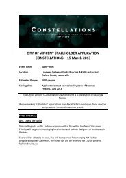 CITY OF VINCENT STALLHOLDER APPLICATION ...