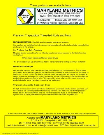 Precision Trapezoidal Threaded Rods and Nuts - Maryland Metrics