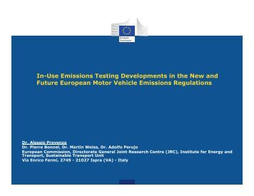 In-Use Emissions Testing Developments in the New and Future ...
