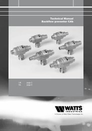 Technical Manual Backflow preventer CAb - Watts waterbeveiliging