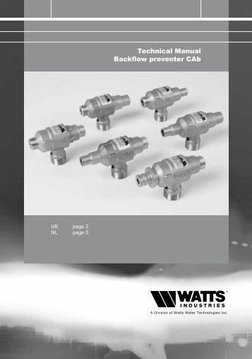 Technical Manual Backflow preventer CAb - Watts waterbeveiliging