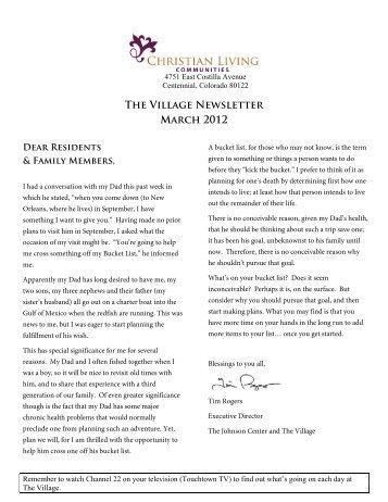 The Village Newsletter March 2012 - Johnson Center & Village
