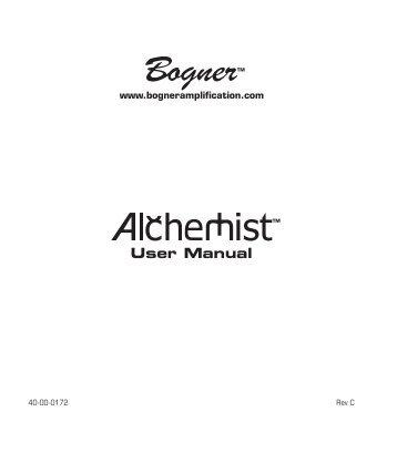 Bogner Alchemist User Manual - Revision C - zZounds.com