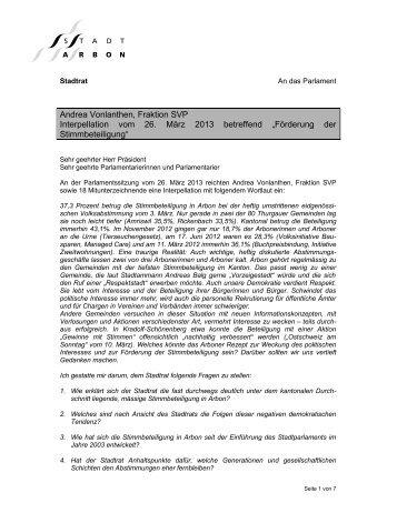 Andrea Vonlanthen, Fraktion SVP Interpellation vom ... - Stadt Arbon