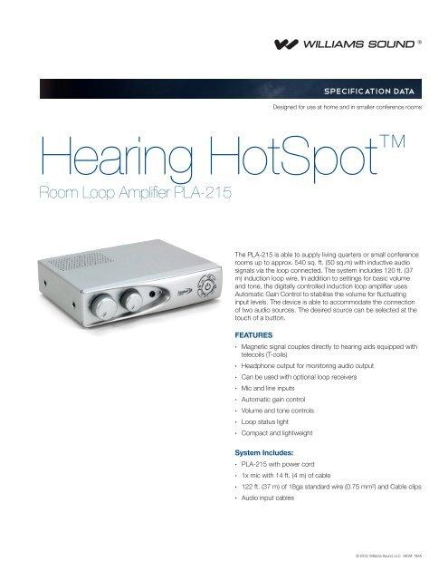 PLA 215 - Hearing HotSpot Home Loop ... - Williams Sound