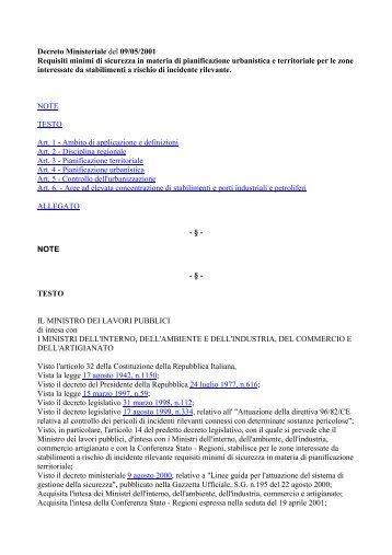 D.M. 9 maggio 2001 - Protezione Civile Anci