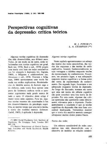 Perspectivas cognitivas da depressão: critica teórica