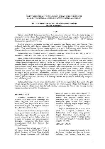 Inventarisasi dan Eksplorasi Mineral Non Logam di Kab. Kepulauan ...