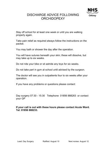 DISCHARGE ADVICE FOLLOWING ORCHIDOPEXY - NHS Orkney