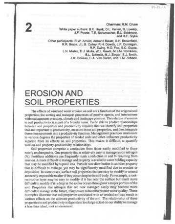 Erosion and Soil Properties - USDA-ARS Wind Erosion Research Unit