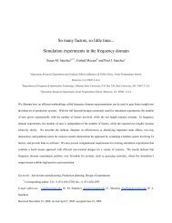 So many factors, so little time... Simulation experiments in the ...