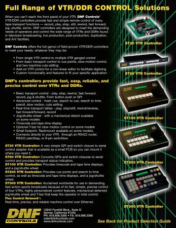 Full Range of VTR/DDR CONTROL Solutions - DNF Controls