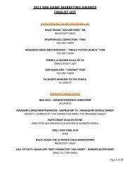 2011 mi6 game marketing awards finalist list - Intersections.tv