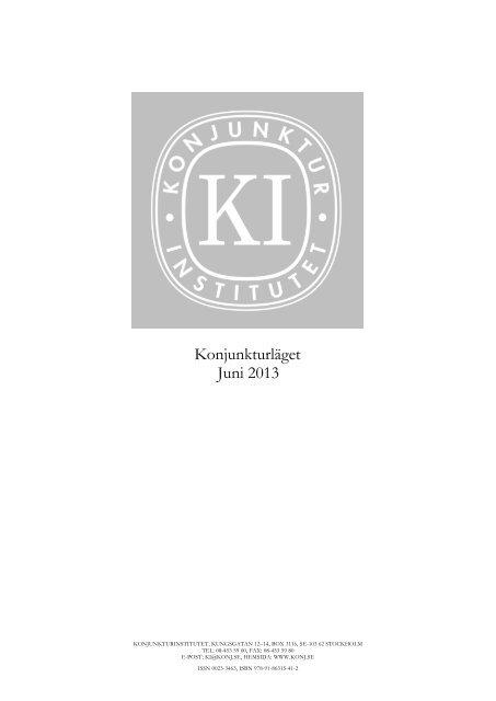 Konjunkturläget juni 2013 - Konjunkturinstitutet