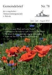 Nr. 78: Juni - Juli - August 2012 - Evangelische ...