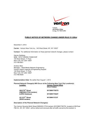 PUBLIC NOTICE OF NETWORK CHANGE UNDER RULE ... - Verizon