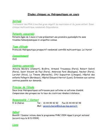 Intitulé Patients concernés Type d'étude Consentement Centres ...