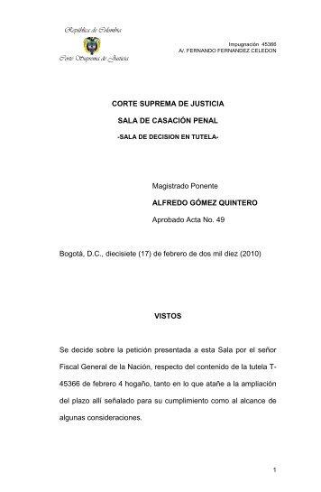 Tutela 40474 del 9 de marzo de 2009 - Corte Suprema de Justicia