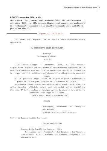 legge 401/2001 - Dipartimento della Protezione Civile