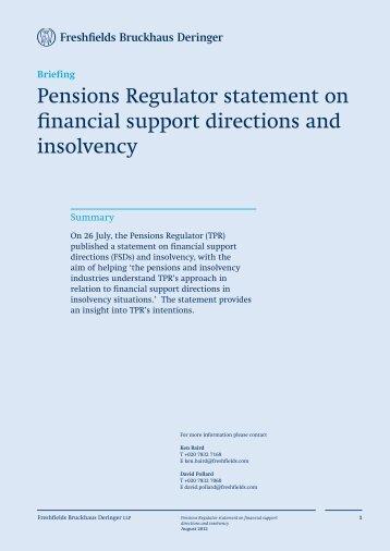 Pensions Regulator statement on financial support ... - Freshfields