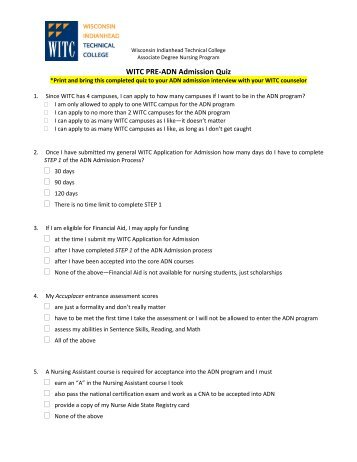 WITC PRE-ADN Admission Quiz - Wisconsin Indianhead Technical ...