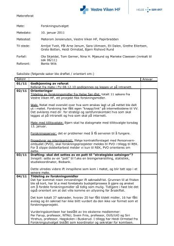 Referat fra møte i Forskningsutvalget 10. januar ... - Vestre Viken HF