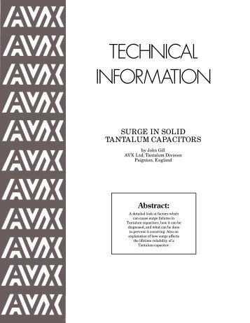 TECHNICAL INFORMATION - AVX Tantalum