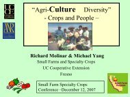 Specialty Fruits and Vegetables - University of California Small Farm ...