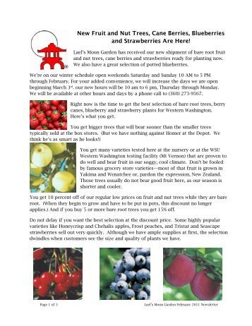 New Fruit and Nut Trees, Cane Berries, Blueberries and ...