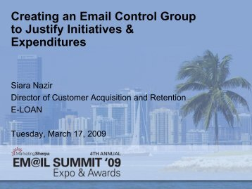 Creating an Email Control Group to Justify ... - MarketingSherpa
