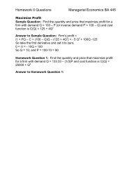 Homework 0 Questions Managerial Economics BA 445