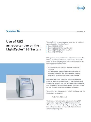 Use of ROX as reporter dye on the LightCycler® 96 System