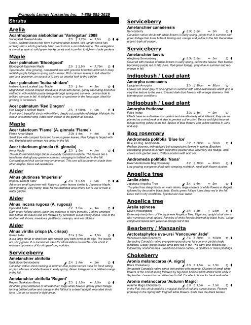 Complete product list - Lemay Nursery