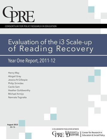 Evaluation of the i3 Scale-up of Reading Recovery: Year One ...