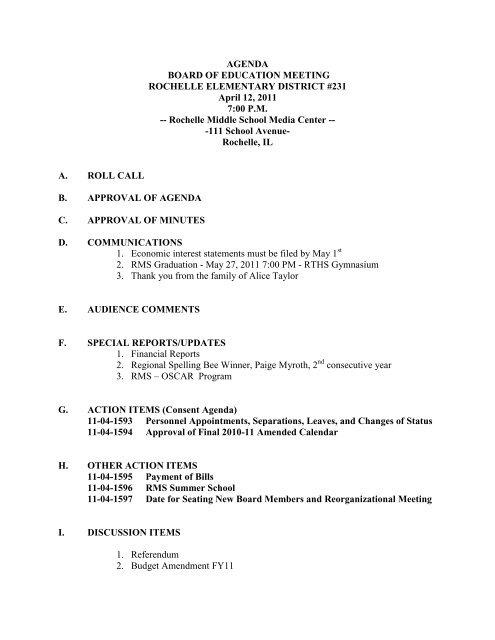 Board Agenda041211.pdf - Rochelle Community Consolidated ...