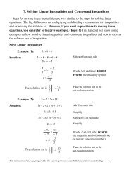 7. Solving Linear Inequalities and Compound Inequalities