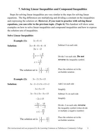 3 5 Compound Inequalities Worksheet L Name Date Per Write A