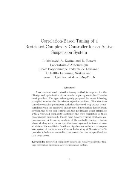 Correlation-Based Tuning of a Restricted-Complexity Controller for ...