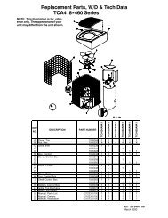 Replacement Parts W/D Tech Data TCA418 460 Series
