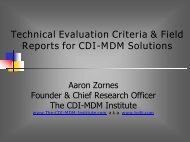 Technical Evaluation Criteria & Field Reports for CDI-MDM Solutions