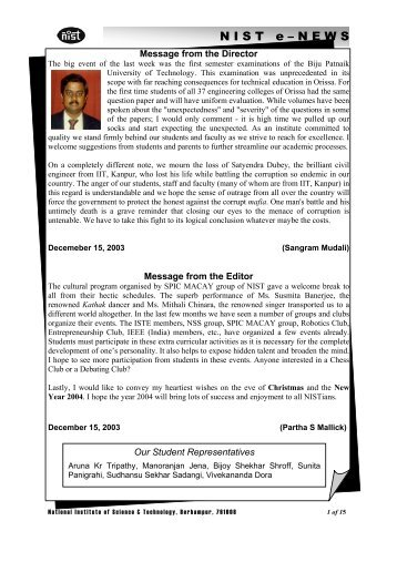 NIST e-NEWS(Vol 19, Dec 15, 2003)