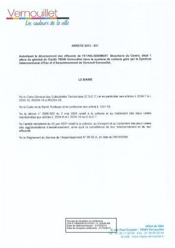 Autorisation de déversement des effluents de la Boucherie du ...