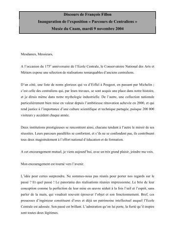 Discours de François Fillon prononcé à l'occasion de l'inauguration du