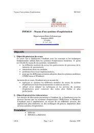 INF2610 - Noyau d'un système d'exploitation Objectifs ... - Cours