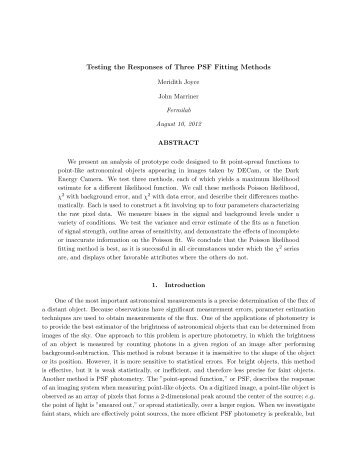Testing the Responses of Three PSF Fitting Methods