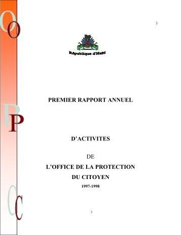 PREMIER RAPPORT ANNUEL D'ACTIVITES DE L'OFFICE ... - IIDH