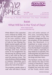 Balak What Will be in the 'End of Days' - Federation Of Synagogues