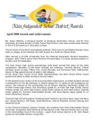 Klein Independent School District Awards