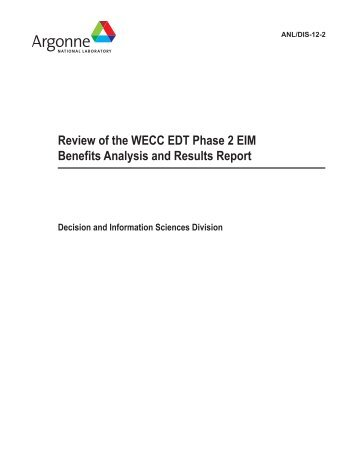 Review of the WECC EDT Phase 2 EIM Benefits Analysis and ...