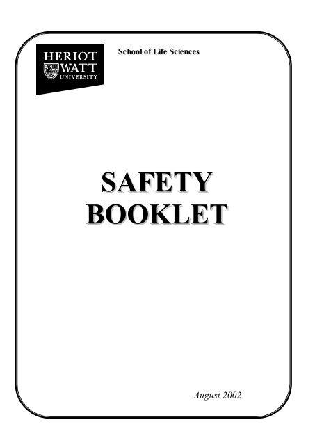 SAFETY BOOKLET - School of Life Sciences - Heriot-Watt University